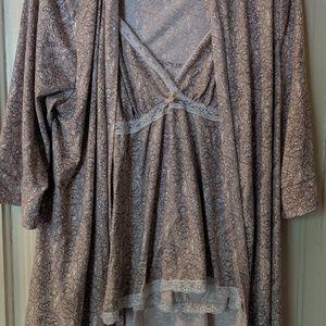 Robe, tank, and shorts pajama set